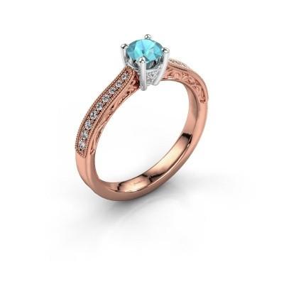 Belofte ring Shonta RND 585 rosé goud blauw topaas 4.7 mm