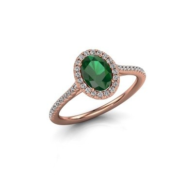 Engagement ring Seline 2 375 rose gold emerald 7x5 mm