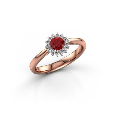 Engagement ring Tilly RND 1 585 rose gold ruby 4.2 mm