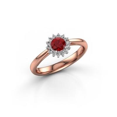Foto van Verlovingsring Tilly RND 1 585 rosé goud robijn 4.2 mm