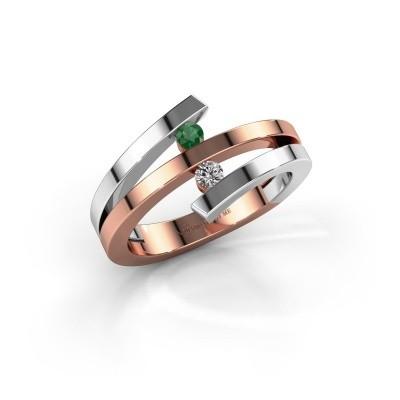 Ring Synthia 585 rosé goud smaragd 2.5 mm