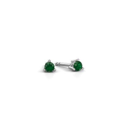 Foto van Oorstekers Somer 585 witgoud smaragd 3 mm