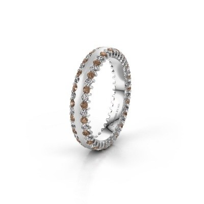 Wedding ring WH2139L24B 925 silver brown diamond ±4x2 mm