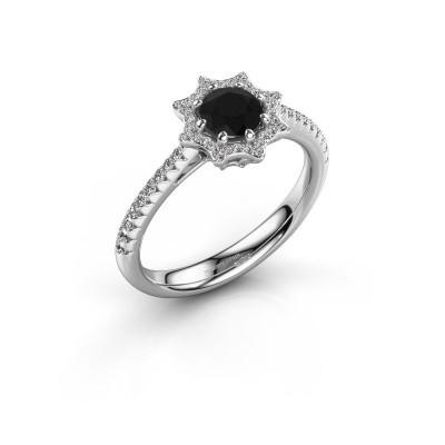 Foto van Aanzoeksring Zena 585 witgoud zwarte diamant 0.830 crt