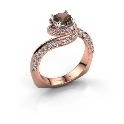 Engagement ring Sienna 585 rose gold smokey quartz 5 mm