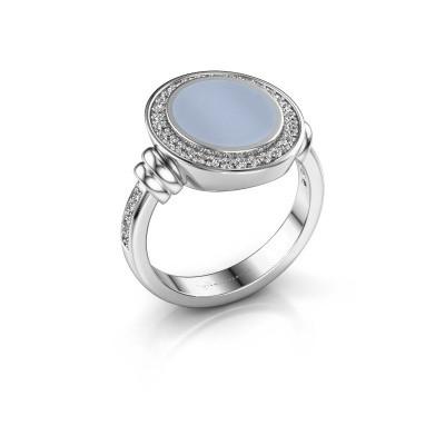 Zegelring Servie 2 925 zilver licht blauwe lagensteen 12x10 mm