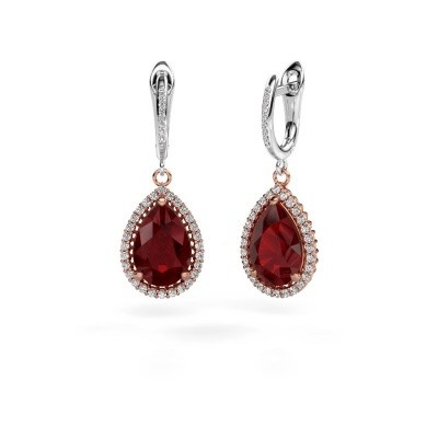 Drop earrings Hana 2 585 rose gold ruby 12x8 mm