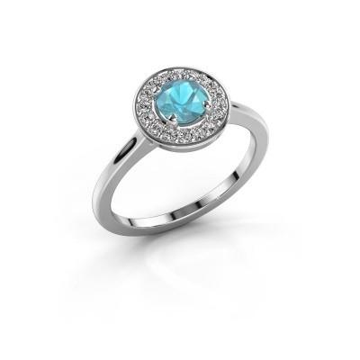 Ring Agaat 1 950 platina blauw topaas 5 mm