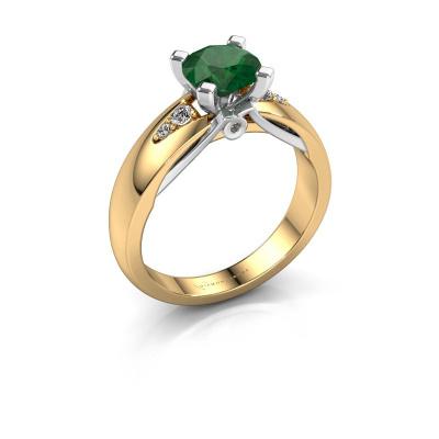 Verlovingsring Ize 585 goud smaragd 6.5 mm