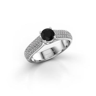Foto van Verlovingsring Leoness 585 witgoud zwarte diamant 0.60 crt