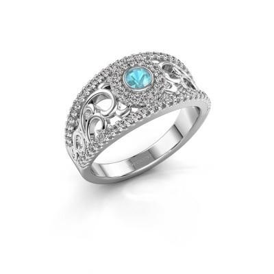 Foto van Ring Lavona 925 zilver blauw topaas 3.4 mm