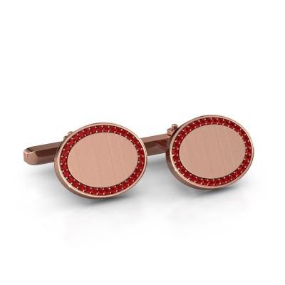 Foto van Manchetknopen Richano 375 rosé goud robijn 1.2 mm