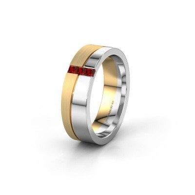 Wedding ring WH0906L16A 585 white gold garnet ±6x1.7 mm