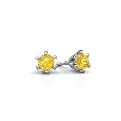 Stud earrings Shana 925 silver yellow sapphire 4 mm