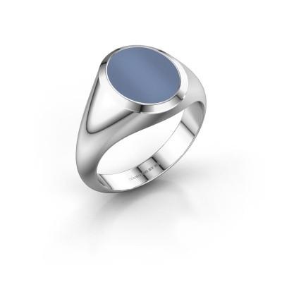 Zegelring Herman 2 F 925 zilver licht blauwe lagensteen 12x10 mm