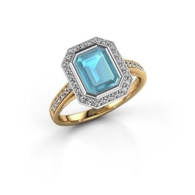 Verlovingsring Noud 2 EME 585 goud blauw topaas 8x6 mm