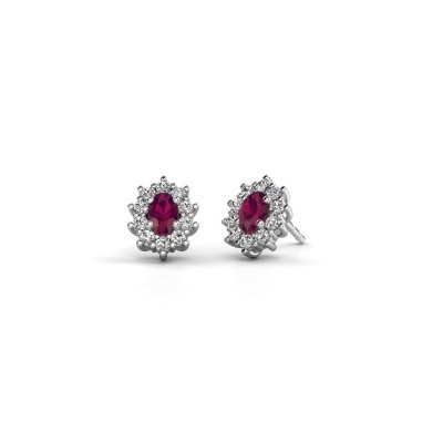 Picture of Earrings Leesa 585 white gold rhodolite 6x4 mm