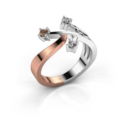 Ring Lillian 585 rosé goud bruine diamant 0.18 crt