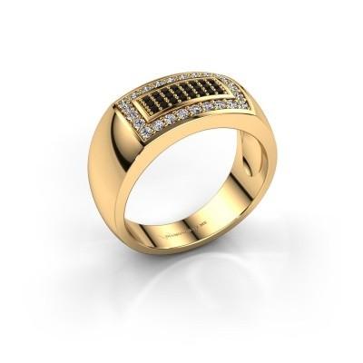 Foto van Mannen ring Lorenzo 375 goud zwarte diamant 0.552 crt