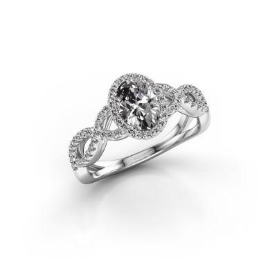 Engagement ring Dionne ovl 950 platinum zirconia 7x5 mm