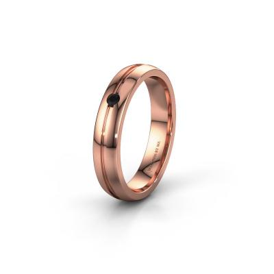 Trouwring WH0424L24A 585 rosé goud zwarte diamant ±4x1.7 mm