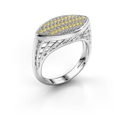 Foto van Ring Mireille 375 witgoud gele saffier 1.1 mm