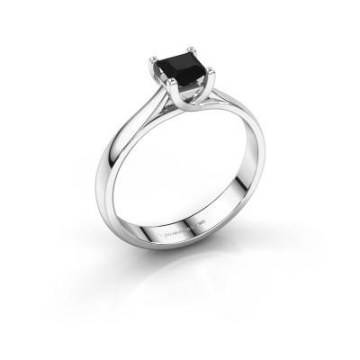 Engagement ring Mia Square 950 platinum black diamond 0.48 crt