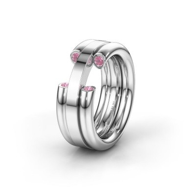 Wedding ring WH6018L 925 silver pink sapphire ±8x3 mm