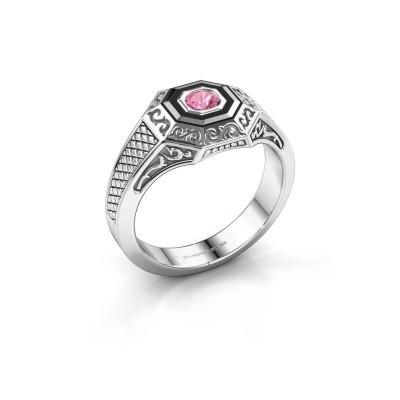 Foto van Heren ring Dion 925 zilver roze saffier 4 mm