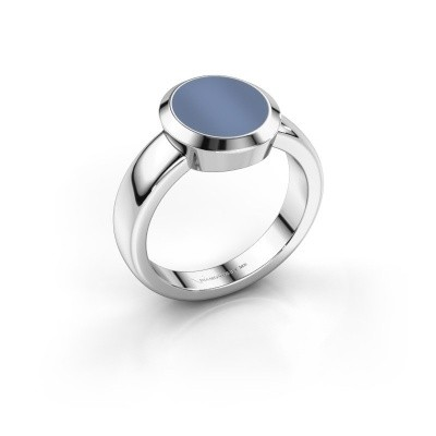 Zegelring Oscar 2 950 platina licht blauwe lagensteen 11x9 mm