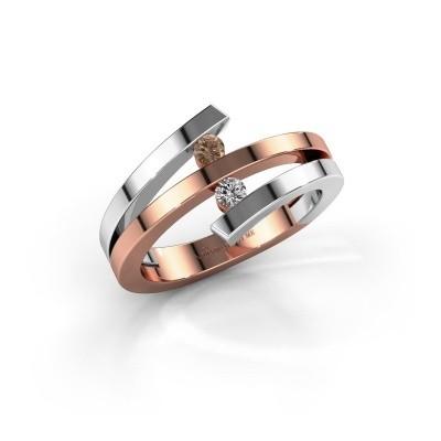 Ring Synthia 585 rosé goud bruine diamant 0.12 crt