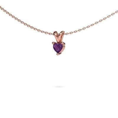 Picture of Necklace Garnet 375 rose gold amethyst 4 mm