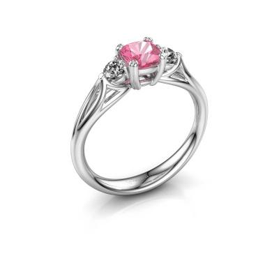 Verlobungsring Amie cus 950 Platin Pink Saphir 5 mm