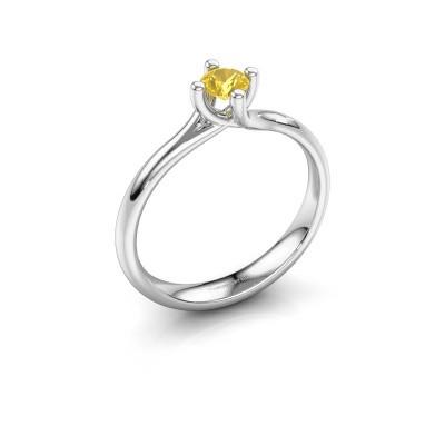 Bild von Verlobungsring Dewi Round 585 Weißgold Gelb Saphir 4 mm