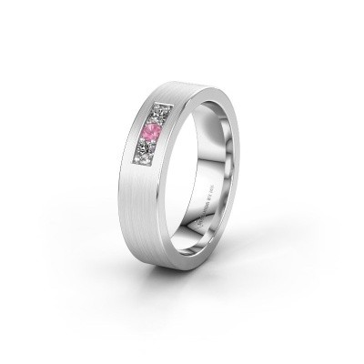Wedding ring WH0110L15BM 375 white gold pink sapphire ±5x2 mm