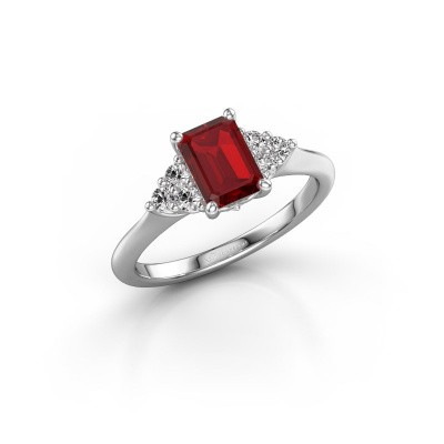 Picture of Engagement ring Felipa EME 585 white gold ruby 7x5 mm