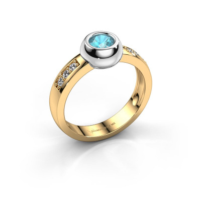 Ring Charlotte Round 585 goud blauw topaas 4.7 mm