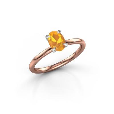 Foto van Verlovingsring Crystal OVL 1 585 rosé goud citrien 7x5 mm