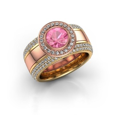 Foto van Ring Roxie 585 rosé goud roze saffier 6.5 mm