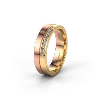 Wedding ring WH0213L15AP 585 rose gold lab grown diamond ±0.20x0.07 in