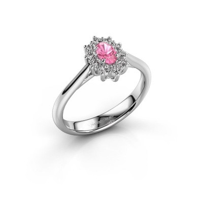 Picture of Engagement ring Leesa 1 950 platinum pink sapphire 5x4 mm