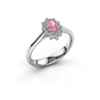 Foto van Verlovingsring Leesa 1 950 platina roze saffier 5x4 mm
