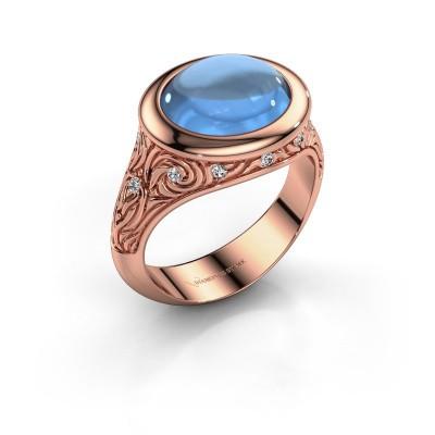 Ring Natacha 375 rosé goud blauw topaas 12x10 mm