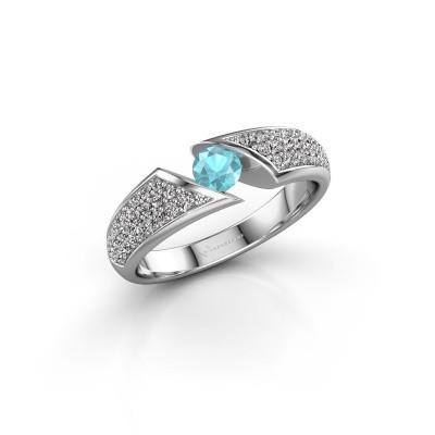 Foto van Ring Hojalien 3 950 platina blauw topaas 4 mm