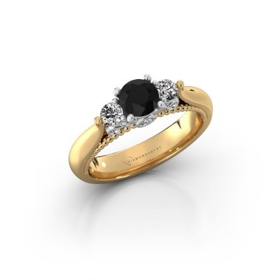 Photo de Bague de fiançailles Tiffani 585 or jaune diamant noir 0.84 crt