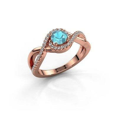 Foto van Verlovingsring Melody 375 rosé goud blauw topaas 5 mm