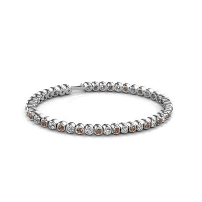Foto van Tennisarmband Bianca 3 mm 585 witgoud bruine diamant 4.40 crt