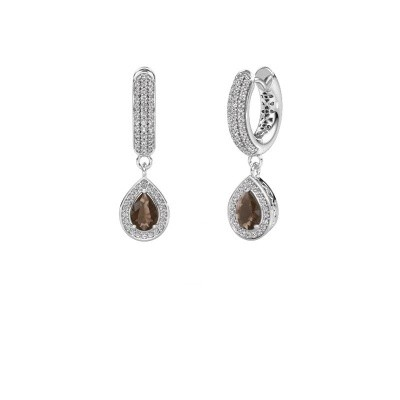 Drop earrings Barbar 2 950 platinum smokey quartz 6x4 mm