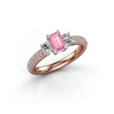 Foto van Verlovingsring Marielle EME 585 rosé goud roze saffier 6x4 mm