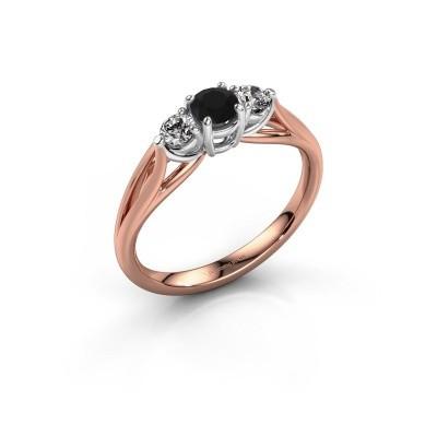 Foto van Verlovingsring Amie RND 585 rosé goud zwarte diamant 0.56 crt